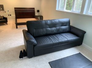 Black Leather Couch for Sale in Bellevue, WA
