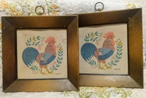 Set of 2 framed canvas rooster prints from 1950's for Sale in Frankford, MO