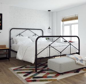 Modern Black Metal Farmhouse Queen Bed Frame for Sale in Mill Creek, WA