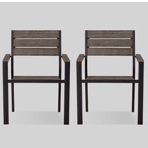 Mantega 2pk Faux Wood Patio Dining Chair - Project 62 for Sale in Pomona, CA