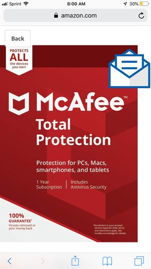 MCafee total internet security for 1 year - $5 for Sale in Rolling Meadows, IL