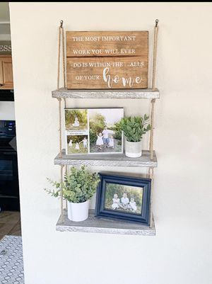 3 Tier Rope Wall Hanging Floating Shelves for Sale in Houston, TX