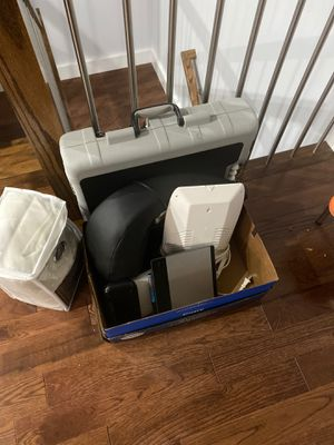 Box o items : neck massager, mood light, wacom tablet, ti89 calculator, and journey gym for Sale in Jersey City, NJ