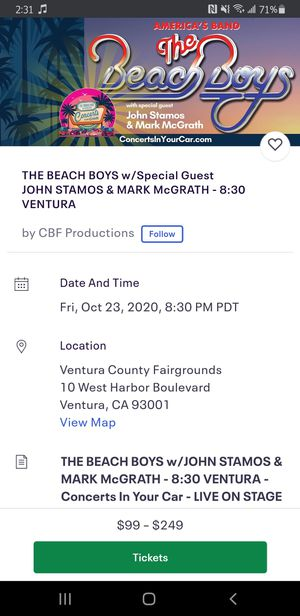 Tickets to The Beach Boys with special guests John Stamos and Mark McGrath FRIDAY 830 for Sale in Torrance, CA
