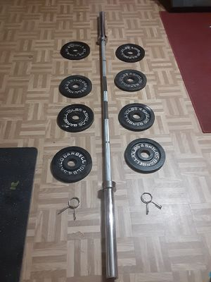 Olympic bar and weights for Sale in Suwanee, GA