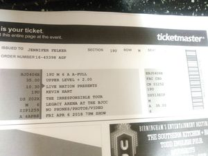 Kevin hart tickets for 2 ...100 for Sale in Birmingham, AL