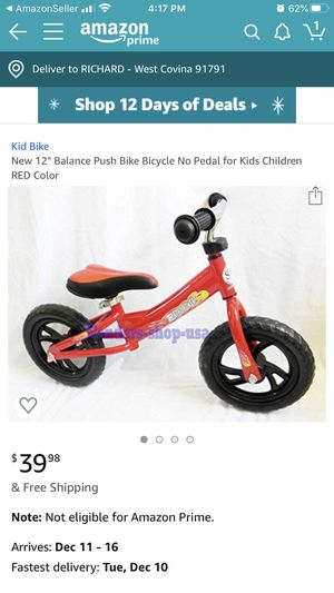 New Learn How to Ride BALANCE BIKE for Kids RED for Sale in Covina, CA