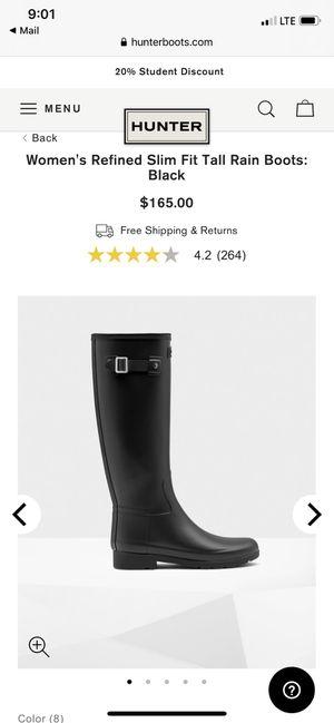 Hunter slim fit women's rain boots for Sale in Norwalk, CA