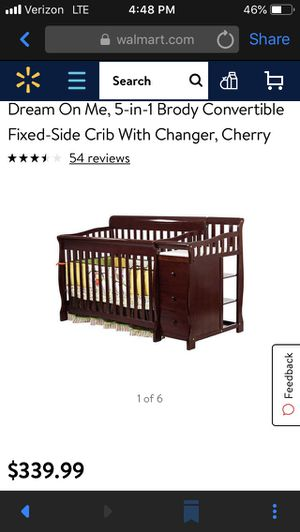 Sorelle Tuscany 4-in-1 Convertible Crib & Changer Combo Cherry, crib/toddler bed for Sale in Virginia Beach, VA