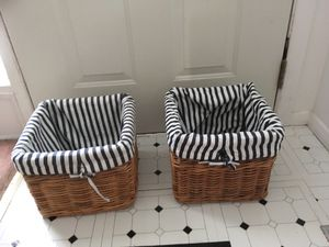 2 Wicker Style Baskets with Liners for Sale in Columbia, MD