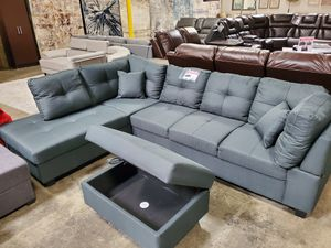 Sectional Sofa with Ottoman, Dark Grey for Sale in Downey, CA