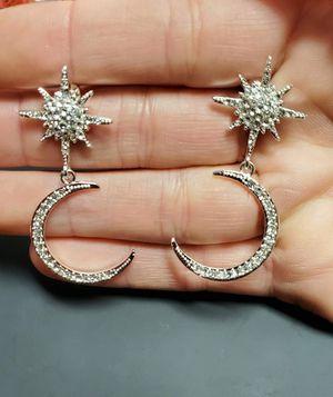Crystal 925 Moon 🌙 & Star 💫 Drop Earrings for Sale in Ripley, WV