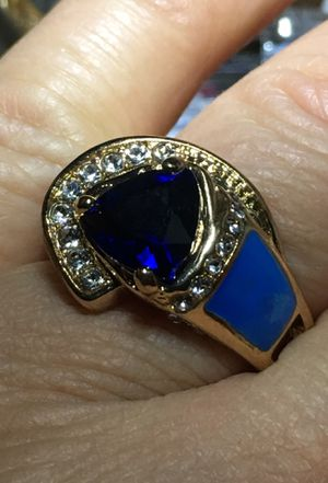 Vintage unit sex 2.28 CT natural blue Tanzanite Opal inlays ring Trillions cut for Sale in Janesville, WI