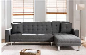 New in box grey linen reversible sectional sofa bed (queen size) for Sale in Long Beach, CA