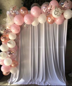 WHITE BACKDROP 4 .R.E.N.T. ❌FREE DELIVERY IN CHULA VISTA AND BORDERING AREAS ONLY❌ BALLOON GARLAND & BUTTERFLIES EXTRA for Sale in Chula Vista, CA