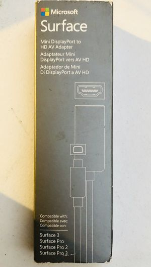 Microsoft surface Pro 3 2 and 1 Mini DisplayPort to AV HD Adapter Cable for Sale in Huntington Park, CA