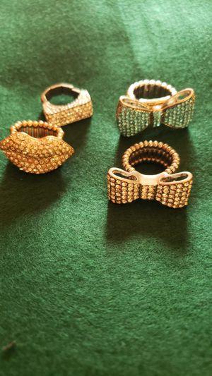 4 rhinestone statement rings..perfect condition for Sale in Corona, CA