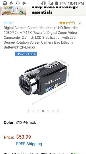 Digital Camera Camcorders Kimire HD Recorder 1080P 24 MP 16X Powerful Digital Zoom Video Camcorder 2.7 Inch LCD for Sale in Brentwood, CA