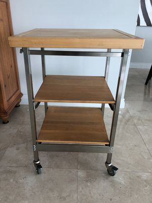 Solid wood folding bakers' cart origami kitchen cart island for Sale in North Miami Beach, FL
