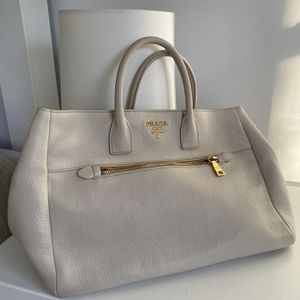 Authentic Prada Large Bag - Ivory Leather for Sale in Newton, MA