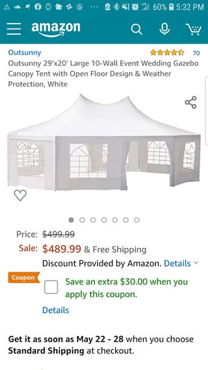 Outsunny 29' x 20' Large 10-Wall Event Wedding Reception Gazebo Canopy Tent - White for Sale in Lucas, TX