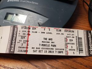 THE WHO .. Moving on concert t mobile park 10/19 seattle 8 tickets in club row 3 for Sale in Kent, WA