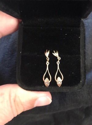 New. 14k yellow gold dangling earrings. Each has a small diamond. Solid gold. Great gift for the woman in your life for Summer or birthday. Eac for Sale in Orange, CA