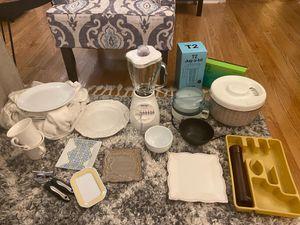 Full Kitchen starter set; includes used Blender, electric skillet, plates, bowls, mugs, salad spinner, tea set, egg maker - $125 for Sale in New York, NY