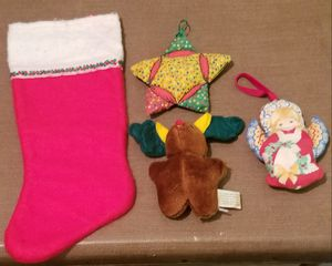 Vintage 4 Christmas items stocking & ornaments for Sale in Three Rivers, MI