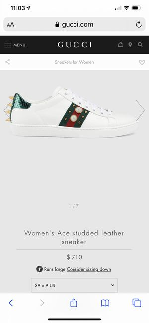 Women's Ace studded leather sneaker gucci for Sale in Dublin, CA