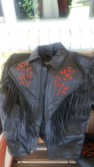 Harley-Davidson 2XL ladies beautiful jacket and CHAPS with red roses . for Sale in Mesa, AZ