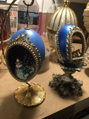 Faberge style Christmas ornaments/music box most are Genuine goose eggs for Sale for sale  East Petersburg, PA