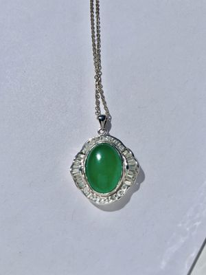 Jade necklace on silver chain with zirconium for Sale in El Segundo, CA