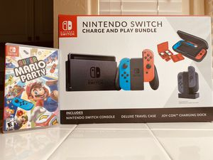 Brand New Improved Battery Life Nintendo Switch Charge and Play Bundle with Super Mario Party for Sale in Fresno, CA