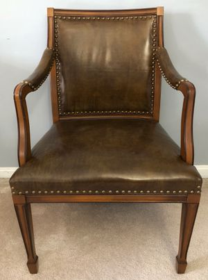 Leather and Wood Library Desk Chair for Sale in Crofton, MD