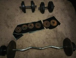 Dumbbells and bar and dumber for Sale in Elyria, OH