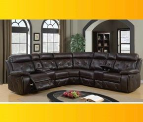 Brown Reclining Tufted Leather Sectional for Sale in Atlanta,  GA