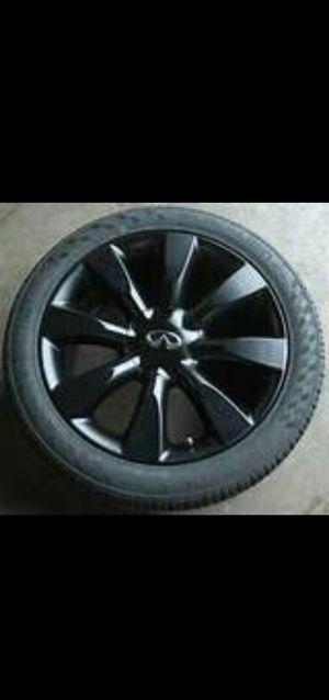 Oem infiniti m35 rims plastidipped black used tires for Sale in Addison, IL