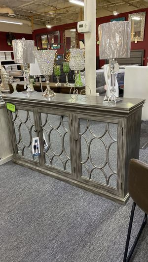 Accent Table Console Table with Mirrored Cabinets and Shelving inside 1FU for Sale in Euless, TX