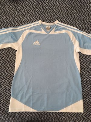 Size small Adidas Climalite Soccer Jersey Brand New Blue and White for Sale in Hesperia, CA
