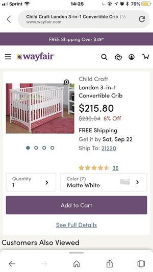 Child's craft baby crib for Sale in Silver Spring, MD