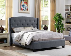 $29 down 90 days no interest no credit needed gray color upholstered queen size bed frame only for Sale in Washington, DC