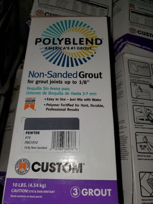 10 bags grout non sanded= pewter color= 6 dollar each for Sale in Glendale, AZ