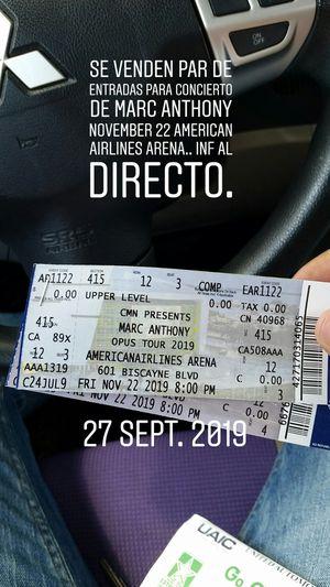 Entradas al concierto d marc anthony area 415 American airlines Arena November 22 for Sale in Miami, FL