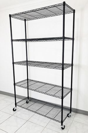 "Brand new $90 Metal 5-Shelf Shelving Storage Unit Wire Organizer Rack Adjustable w/ Wheel Casters 48x18x82"" for Sale in Downey, CA"
