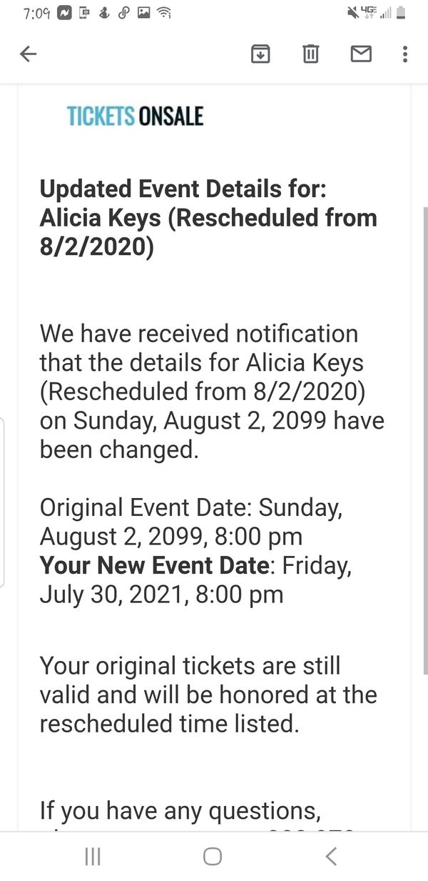 1 Alicia Keys Concert Ticket