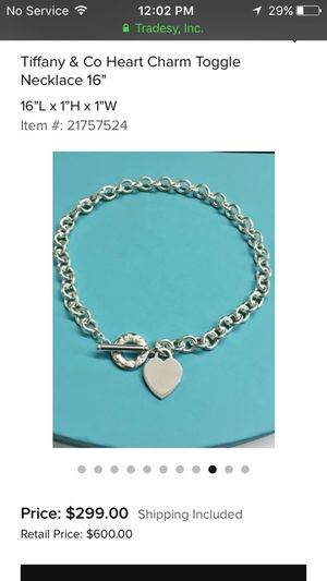 Tiffany & Co heart toggle necklace for Sale in Cahokia, IL