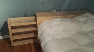 IKEA queen size bed with roll out shelves for Sale in Chicago, IL