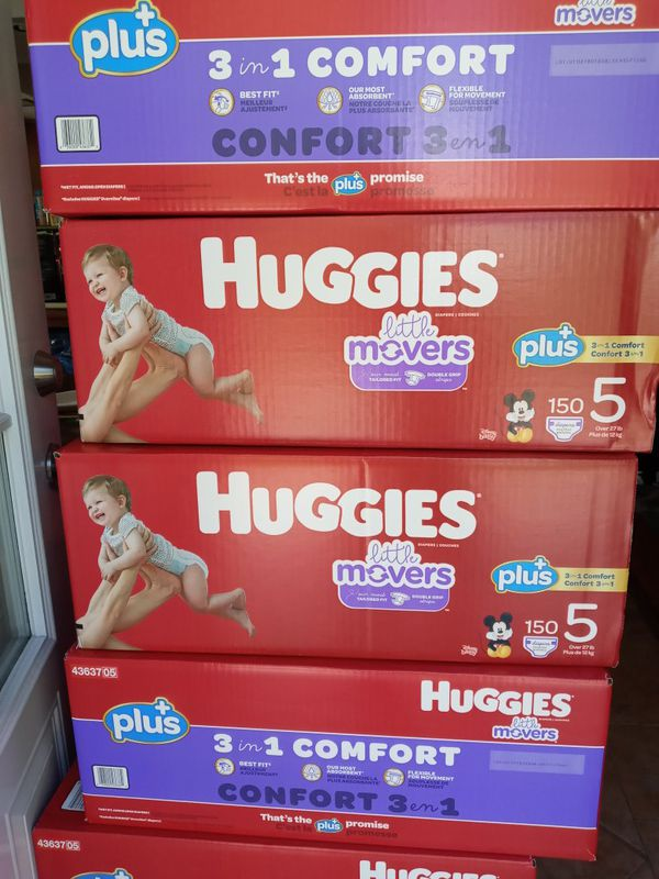 Huggies little movers size 5/150 diapers $47 a box