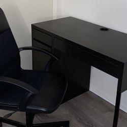 like new ikea office computer black brown micke desk w/ ikea rolling chair for Sale in Lynwood,  CA